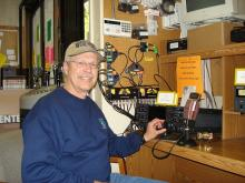 Pat at the controls of a really high-end Icom transceiver.