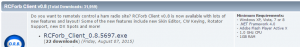 Screenshot showing download for RCForb client.