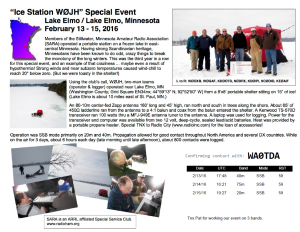 W0JH 2016 special event certificate showing station and group on frozen Lake Elmo, MN.