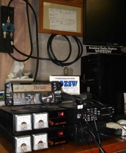Station at W0ZSW showing TS-480HX, computer, dual power supplies.