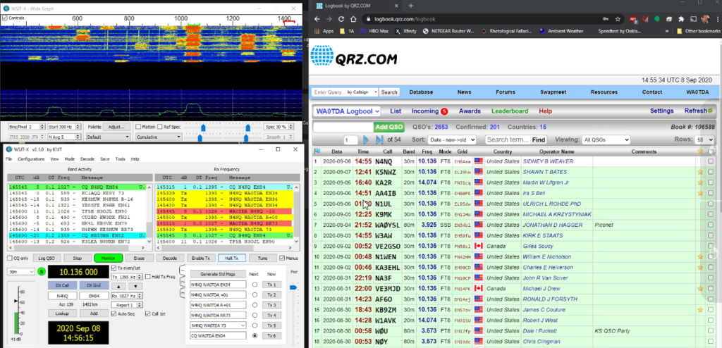 Screenshot of WSJT software and QRZ.com logbook page with recent contacts on 30 meters.
